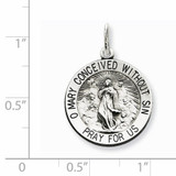 Blessed Mother Medal Antiqued Sterling Silver QC5591