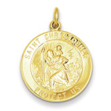 Saint Christopher Medal 24k Gold-plated Sterling Silver MPN: QC5641