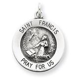Saint Francis Medal Antiqued Sterling Silver MPN: QC5723