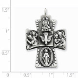 4-way Medal Antiqued Sterling Silver QC5808