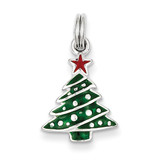 Enamel Christmas Tree Charm Sterling Silver MPN: QC6064