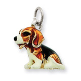 Small Beagle Charm Sterling Silver Enameled MPN: QC6374