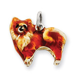 Small Pomeranian Charm Sterling Silver Enameled MPN: QC6416