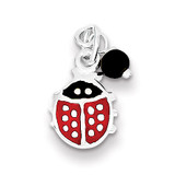 Red Enameled Ladybug Bead Charm Sterling Silver MPN: QC6856