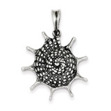 Polished Seashell Pendant Antiqued Sterling Silver MPN: QC6917