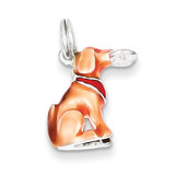 Light Brown & Enamel Dog Charm Sterling Silver MPN: QC7152