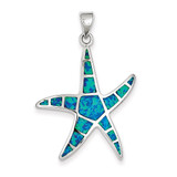 Blue Inlay Created Opal Starfish Pendant Sterling Silver MPN: QC7691