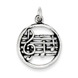 Music Staff Charm Antiqued Sterling Silver MPN: QC7780
