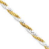 8 Inch Vermeil 2.5mm Diamond-cut Rope Chain Sterling Silver QDCY060-8 UPC: 883957920887