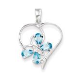 SW Blue Topaz & Diamond Butterfly Heart Pendant Sterling Silver MPN: QDX510