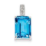 Emerald-cut Swiss Blue Topaz & Diamond Pendant Sterling Silver MPN: QDX528