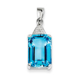 Emerald-cut Swiss Blue Topaz & Diamond Pendant Sterling Silver MPN: QDX530