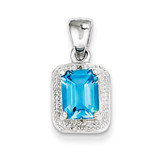 Emerald-cut Lt Sw Blue Topaz & Diamond Pendant Sterling Silver MPN: QDX539