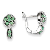 Emerald Circle Hinged Earrings Sterling Silver MPN: QE10113E
