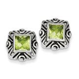 Green Diamond Square Earrings Sterling Silver MPN: QE3106
