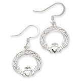 Celtic Knot Claddagh Earrings Sterling Silver MPN: QE4166