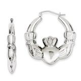 Claddagh Hoop Earrings Sterling Silver Rhodium-plated MPN: QE4705