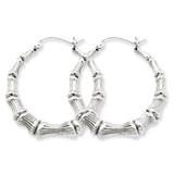 Bamboo Hoop Earrings Sterling Silver Rhodium-plated MPN: QE4712