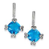 Blue & Clear Diamond Post Earrings Sterling Silver MPN: QE5149