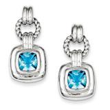 Blue Glass Dangle Post Earrings Sterling Silver MPN: QE5155
