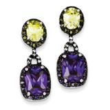 Purple & Green Diamond Post Earrings Sterling Silver MPN: QE5241