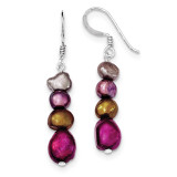 Browns Purples Cultured Pearl Earrings Sterling Silver MPN: QE5494