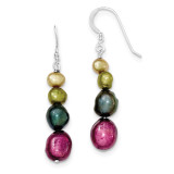 Multi-Color Cultured Pearl Earrings Sterling Silver MPN: QE5517
