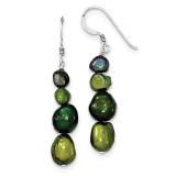 Dk Green Blk Green Olivine Cultured Pearl Earrings Sterling Silver MPN: QE5563