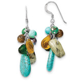 Crystal, Prehnite and Grey Cultured Pearl Earrings Sterling Silver MPN: QE5638