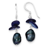 Dark Blue Mother of Pearl & Cultured Pearl Earrings Sterling Silver MPN: QE5915