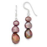 Brown Cultured Pearl Earrings Sterling Silver MPN: QE5937