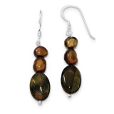 Tiger's Eye & Brown Cultured Pearl Earrings Sterling Silver MPN: QE5983