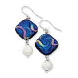 Blue Dichroic Glass Cultured Pearl Dangle Earrings Sterling Silver MPN: QE6254