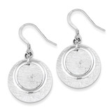 Textured Fancy Circle Dangle Earrings Sterling Silver Polished MPN: QE7182