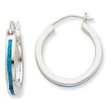 Blue Opal Inlay Hoop Earrings Sterling Silver MPN: QE7434