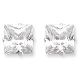 9mm Square Diamond 4 Prong Stud Earrings Sterling Silver MPN: QE7505