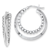 Intertwining Beaded Hoop Earring Sterling Silver Rhodium-plated MPN: QE8472