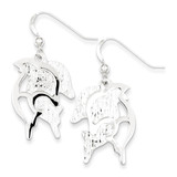 Textured Dolphin Dangle Earrings Sterling Silver Polished MPN: QE8784