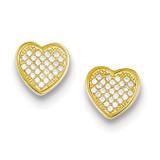 Vermeil Diamond Micro Pave Heart Post Earrings Sterling Silver MPN: QE9128