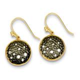 Flash Gold Plate Diamond Black Rhodium Circle Earrings Sterling Silver MPN: QE9317