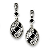 Black Synthetic Stone Antiqued Dangle Post Earrings Sterling Silver MPN: QE9388