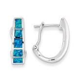 Blue Inlay Created Opal Squares Hoop Earrings Sterling Silver MPN: QE9409