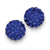 10mm Dark Blue Diamondech Crystal Post Earrings Sterling Silver MPN: QE9545