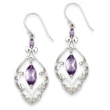Amethyst Fancy Dangle Earrings Sterling Silver MPN: QE9609