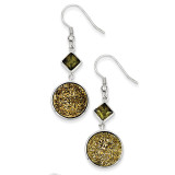 Yellow Druzy and Green Diamond Round Dangle Earrings Sterling Silver MPN: QE9618