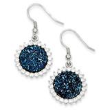 Blue Druzy & Diamond Round Shepherd Hook Earrings Sterling Silver MPN: QE9621