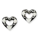 Stellux Crystal Black Enamel Open Heart Post Earrings Sterling Silver MPN: QE9682