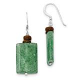Green Cracked Aventurine & Brown MOP Earrings Sterling Silver MPN: QE9787