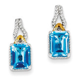 Flash Gold-plate Accent Blue Topaz Earrings Sterling Silver MPN: QE9886BT