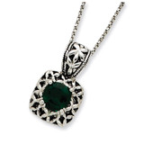 18 Inch Green Synthetic Crystal Necklace Antiqued Sterling Silver MPN: QG2005-18